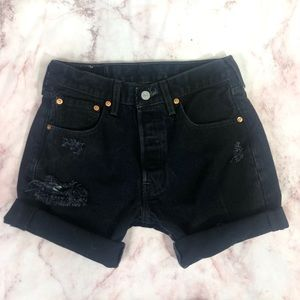 Levis 501 Button Fly High Rise Cuffed Mom Shorts